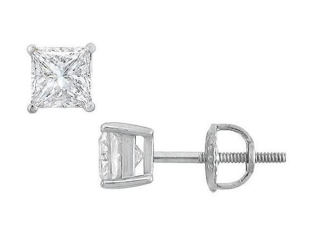 18K White Gold  Princess Cut Diamond Stud Earrings  1.00 CT. TW.