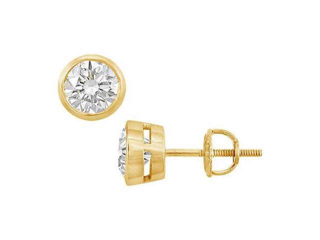 18K Yellow Gold  Bezel-Set Round Diamond Stud Earrings  1.00 CT. TW.