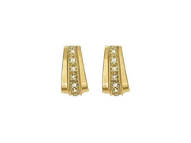 Wide Modern Diamond Hoop Earrings for Women in Yellow Gold 0.50 CT Diamonds 14K