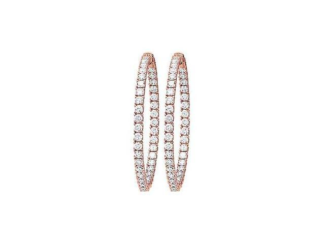 CZ 49mm Round Prong Set .10 Inside Out Hoop Earrings in 14kt Rose Gold Over Sterling Silver