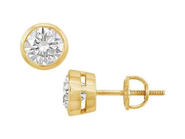 18K Yellow Gold  Bezel-Set Round Diamond Stud Earrings  1.50 CT. TW.