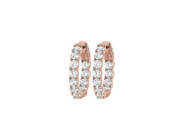 CZ 23mm Round Prong.15 Inside Out Hoop Earrings in 14K Rose Gold over Sterling Silver