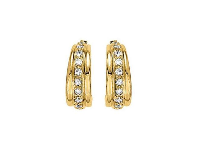 Modern Cubic Zirconia Hoop Earrings for Women 0.66.ct.tw 14K Yellow Gold