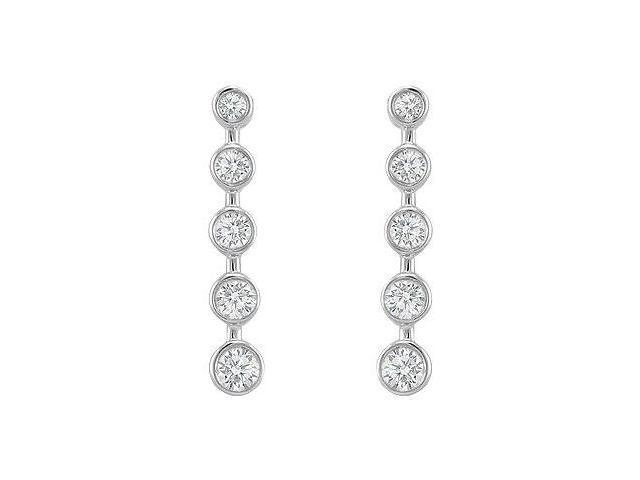 Diamond Journey Earrings  14K White Gold - 1.00 CT Diamonds