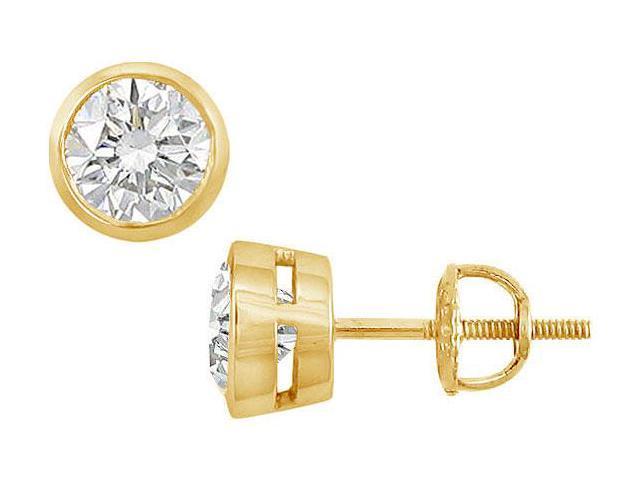 18K Yellow Gold  Bezel-Set Round Diamond Stud Earrings  2.00 CT. TW.