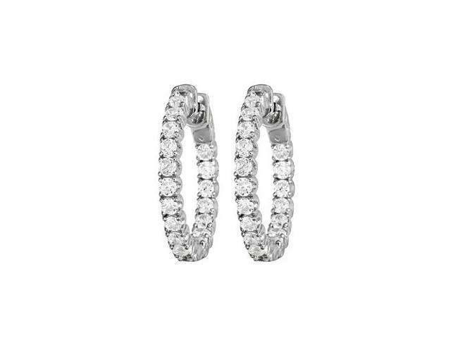 Diamond Hoop Earrings for Women Inside Out White Gold 1.00 CT Diamonds 14K