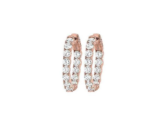 CZ 30mm Round Prong.15 Inside Out Hoop Earrings in 14K Rose Gold over Sterling Silver