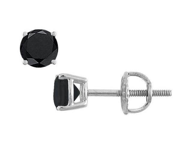 14K White Gold  Round Black Diamond Stud Earrings  1.00 CT. TW.