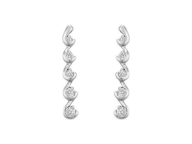 Diamond Journey Earrings  14K White Gold - 0.50 CT Diamonds