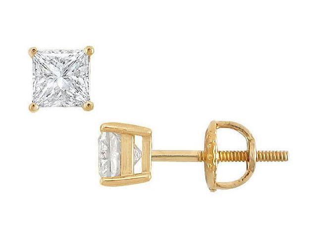 18K Yellow Gold  Princess Cut Diamond Stud Earrings  0.75 CT. TW.