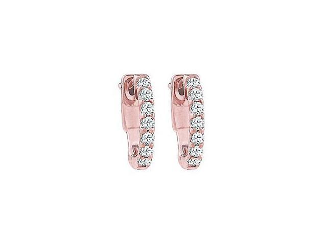 CZ 1 Row Petite Vault Lock Earrings in 14kt Rose Gold Over Sterling Silver