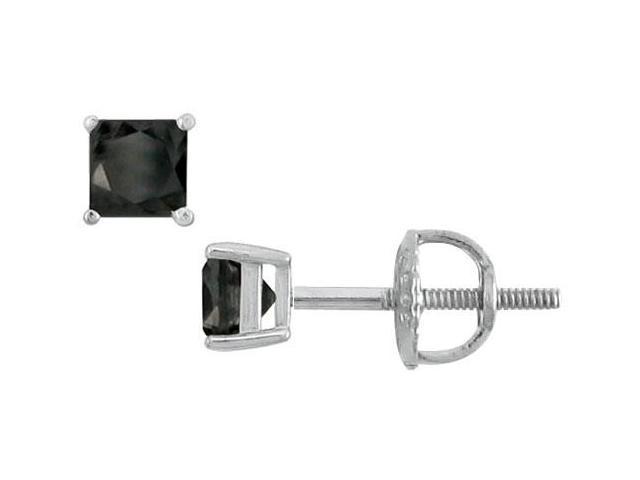 14K White Gold  Princess Cut Black Diamond Stud Earrings  0.50 CT. TW.