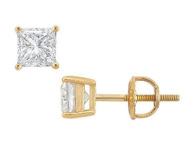 18K Yellow Gold  Princess Cut Diamond Stud Earrings  1.25 CT. TW.