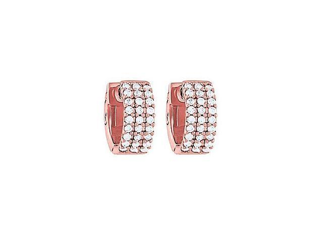 CZ 3 Row Flat Petite Vault Lock Earrings in 14kt Rose Gold Over Sterling Silver