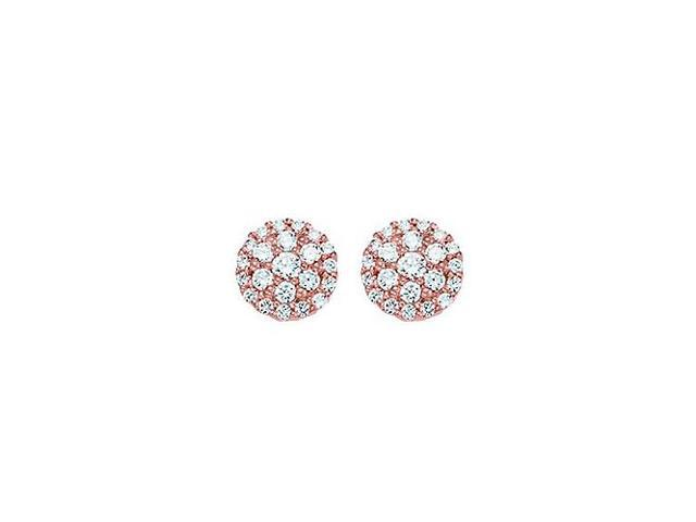 Cubic Zirconia Cluster Stud Earrings in 14kt Rose Gold over Sterling Silver