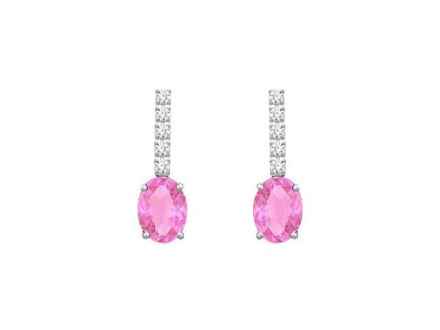 Created Pink Sapphire and CZ Earrings Prong Set in 925 Sterling Silver 1.25 Carat TGW