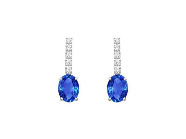 Created Sapphire Earrings with AAA CZ Prong Set on 925 Sterling Silver 1.25 Carat TGW