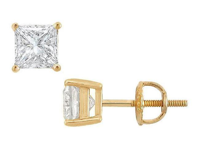 18K Yellow Gold  Princess Cut Diamond Stud Earrings  2.00 CT. TW.
