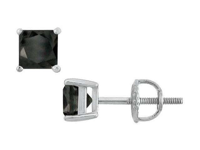 14K White Gold  Princess Cut Black Diamond Stud Earrings  2.00 CT. TW.