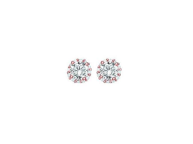 Cubic Zirconia Halo Stud Earrings in 14kt Rose Gold over Sterling Silver