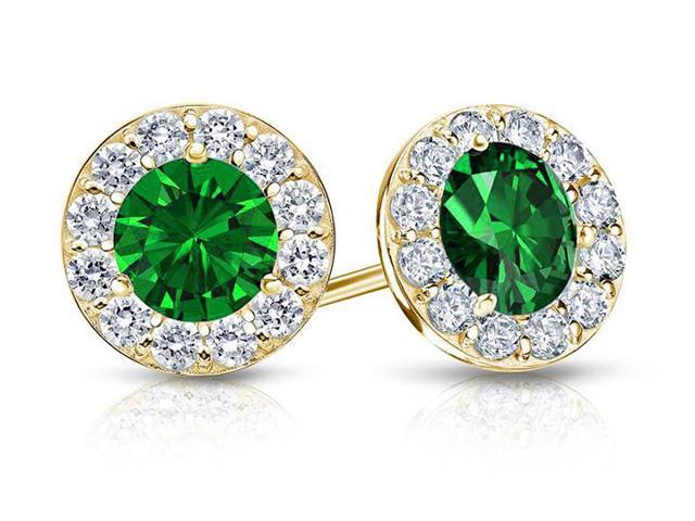 Created Emerald and CZ Halo Stud Earrings in 14K Yellow Gold 1.50.ct.tw
