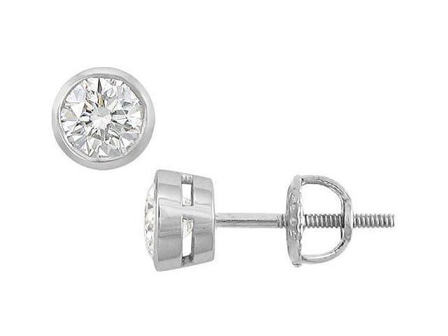 18K White Gold  Bezel-Set Round Diamond Stud Earrings  0.50 CT. TW.