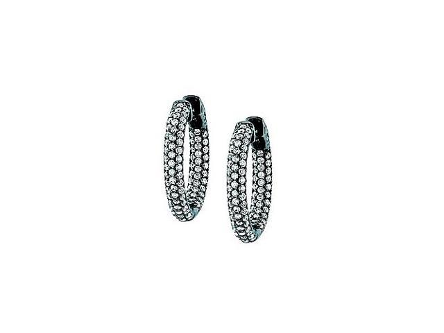 Pave Cubic Zirconia 25mm Round Inside Out Hoop Earrings in Black Rhodium over Sterling Silver