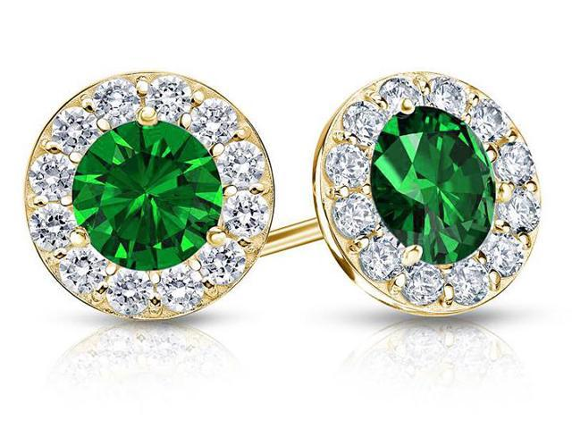 Created Emerald and CZ Halo Stud Earrings in 14K Yellow Gold 2.00.ct.tw