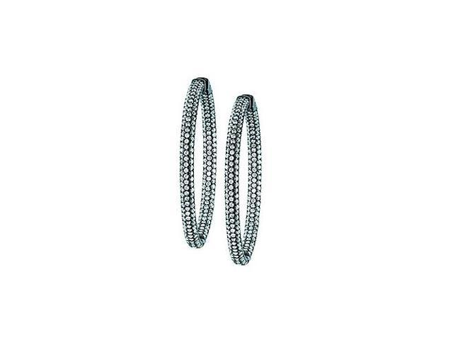 Pave Cubic Zirconia 50mm Round Inside Out Hoop Earrings in Black Rhodium over Sterling Silver