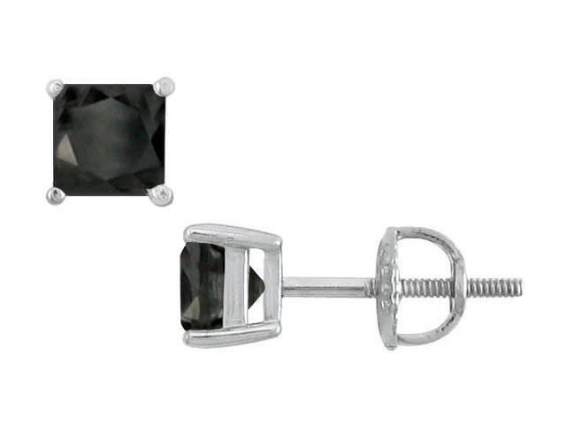 14K White Gold  Princess Cut Black Diamond Stud Earrings  2.50 CT. TW.