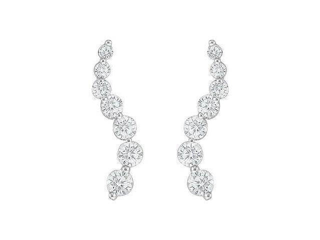 Diamond Journey Earrings  14K White Gold - 1.00 CT Diamonds