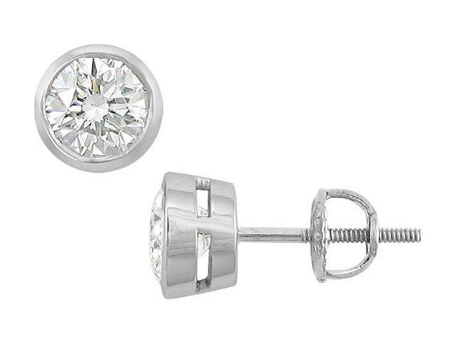 18K White Gold  Bezel Set Round Diamond Stud Earrings  2.00 CT. TW.