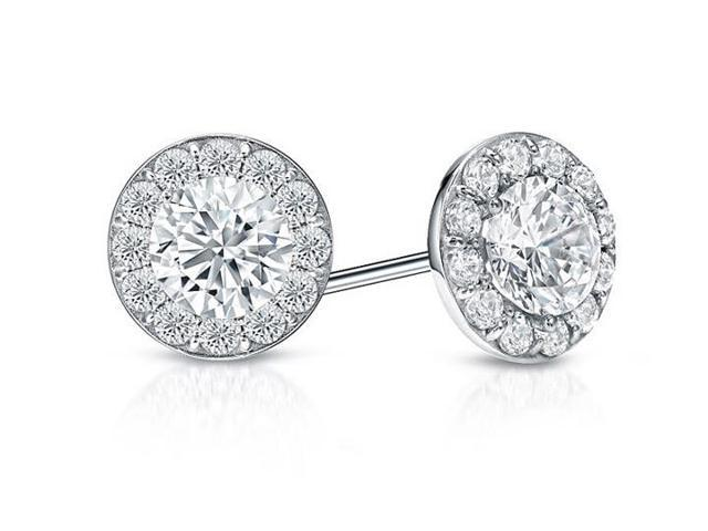 CZ Halo Stud Earrings in Sterling Silver 1.50.ct.tw