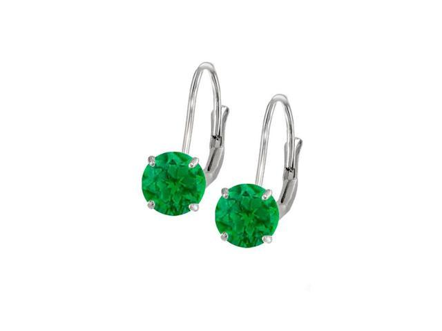 Leverback Earrings in 14K White Gold with Emerald Gemstone 2.00 CT TGW Perfect Jewelry Gift