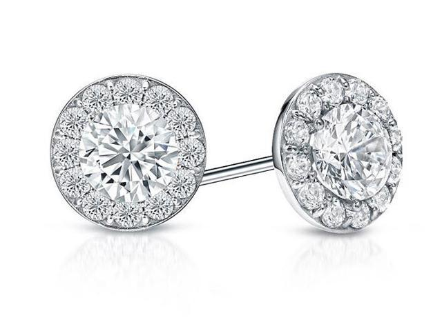 CZ Halo Stud Earrings in Sterling Silver 2.00.ct.tw
