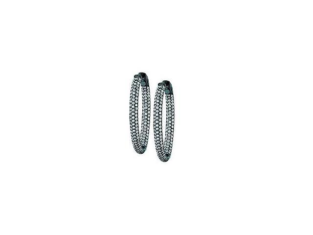 Pave Cubic Zirconia 37mm Oval Inside Out Hoop Earrings in Black Rhodium over Sterling Silver