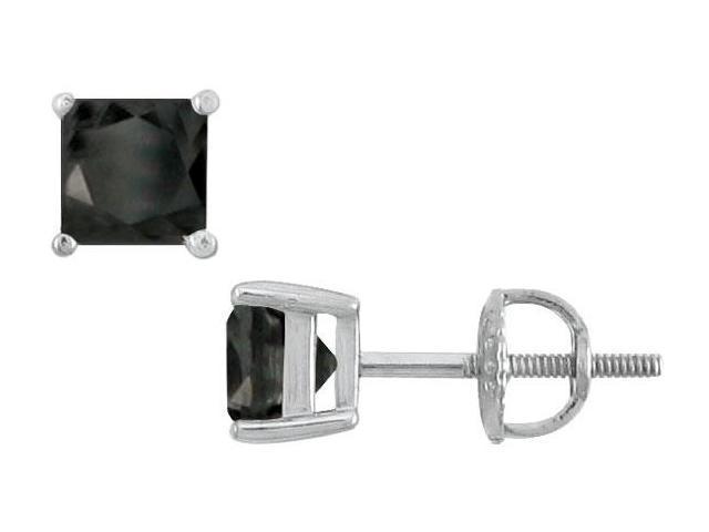 14K White Gold  Princess Cut Black Diamond Stud Earrings  3.00 CT. TW.