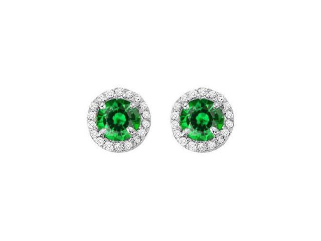 May Birthstone Created Emerald and CZ Halo Stud Earrings in 14kt White Gold 2.25 CT TGW