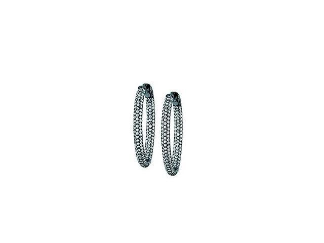 Pave Cubic Zirconia 49mm Oval Inside Out Hoop Earrings in Black Rhodium over Sterling Silver