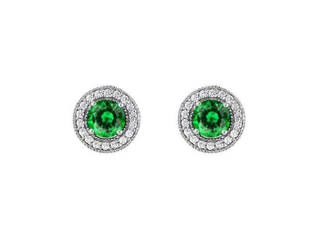 May Birthstone Created Emerald and CZ Halo Stud Earrings in 14kt White Gold 2.50 CT TGW