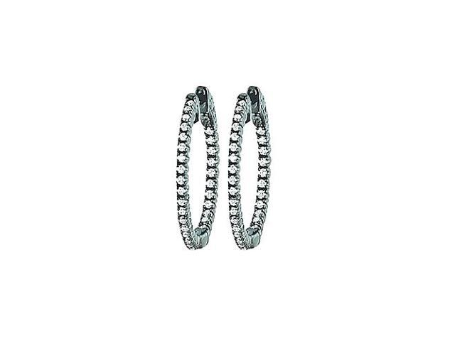 CZ 25mm Round Prong Set .01 Inside Out Hoop Earrings in Black Rhodium over Sterling Silver