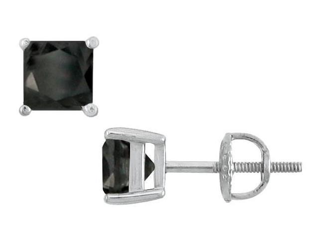 14K White Gold  Princess Cut Black Diamond Stud Earrings  4.00 CT. TW.