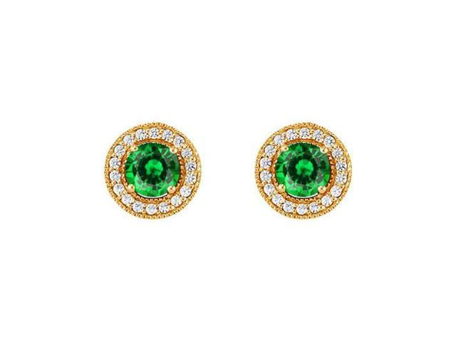 May Birthstone Created Emerald and CZ Halo Stud Earrings in 14kt Yellow Gold 2.50 CT TGW