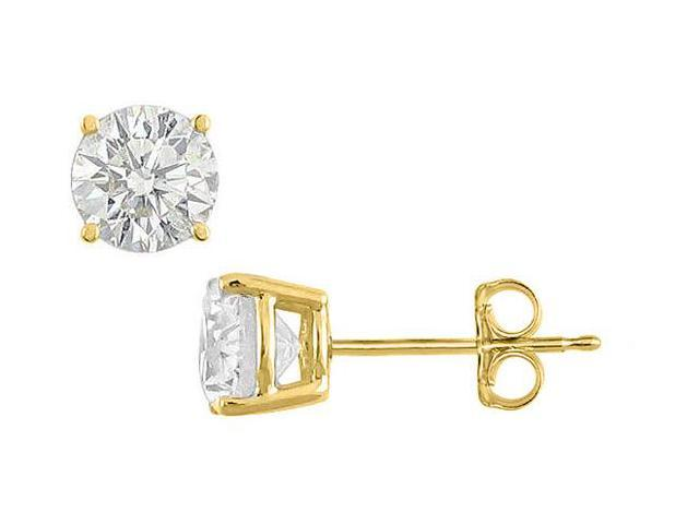 Cubic Zirconia Stud Earrings 35 Carat Brilliant Cut Set in Sterling Silver with 18K Yellow Gold