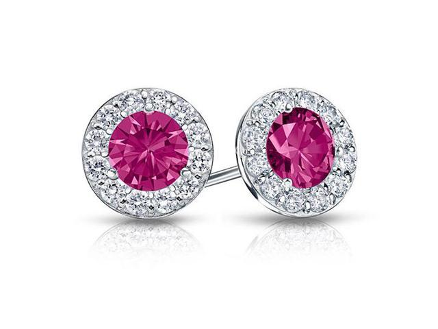 Created Pink Sapphire and CZ Halo Stud Earrings in Sterling Silver 1.00.ct.tw