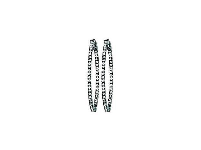 CZ 50mm Round Prong Set .01 Inside Out Hoop Earrings in Black Rhodium over Sterling Silver