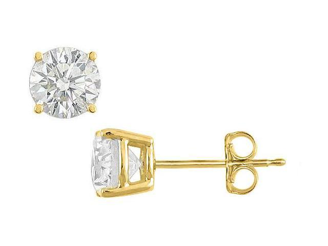 Sterling Silver with 18K Yellow Gold Vermeil of Fifty Carat Cubic Zirconia Stud Earrings