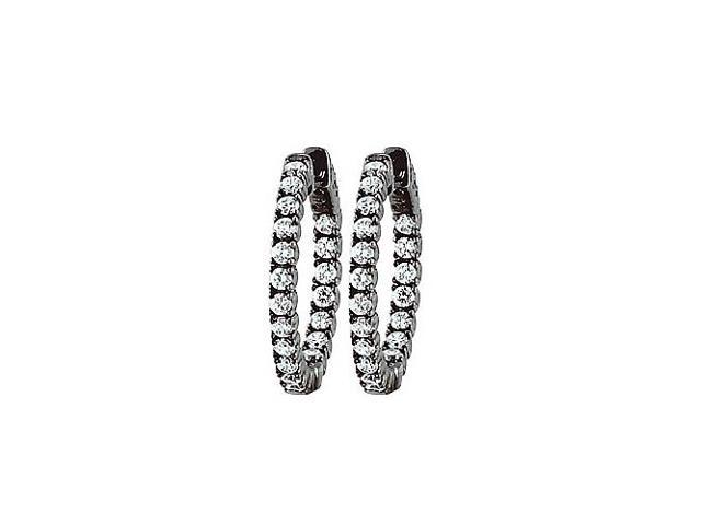CZ 25mm Round Prong Set .05 Inside Out Hoop Earrings in Black Rhodium over Sterling Silver