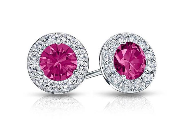 Created Pink Sapphire and CZ Halo Stud Earrings in Sterling Silver 1.50.ct.tw