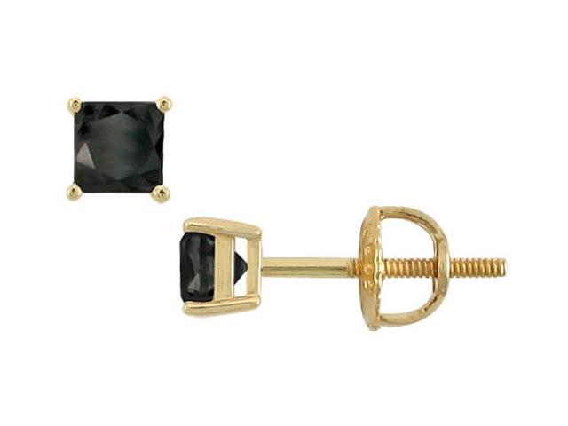 14K Yellow Gold  Princess Cut Black Diamond Stud Earrings  0.50 CT. TW.